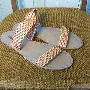 Lucky Brand orange yellow slip on sandals slippers